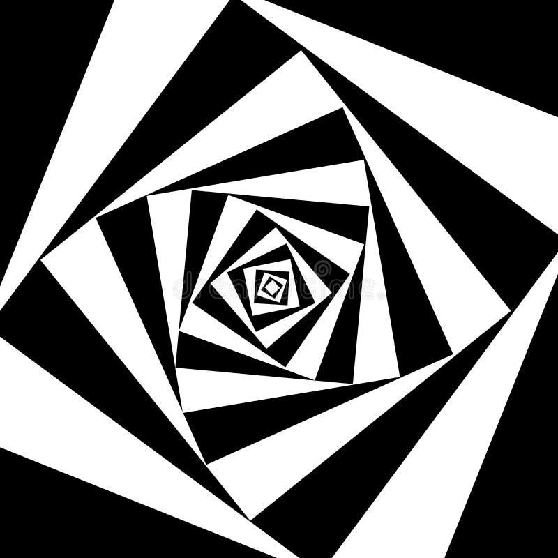 Fyrkanten roterar svartvit abstrakt bakgrund vektor illustrationer