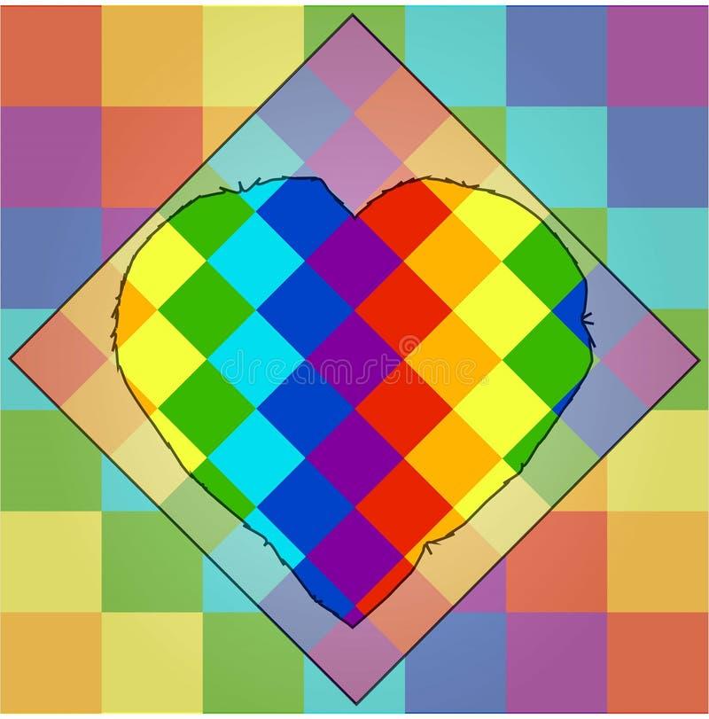 Fyrkanter av färger av en regnbåge med en unik kontur av hjärta i mitt lgbtsymbolism stock illustrationer