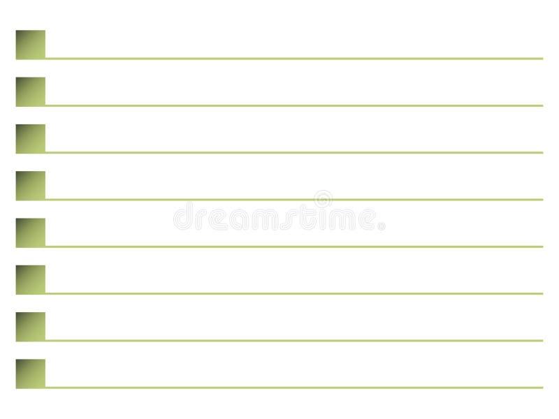 Fyrkanter för grön oliv med linjen följdradanteckningsbok för den märkta listan för skugga fodrar vektorn som isoleras på vit bak vektor illustrationer