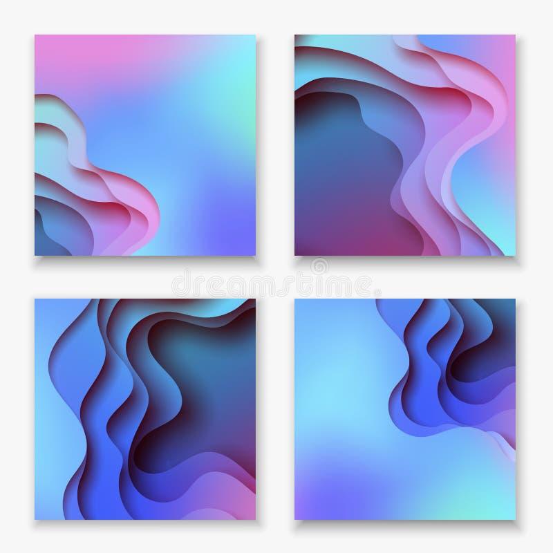 Fyrkantig abstrakt för papperskonst för färg 3d uppsättning för illustration Kontrastfärger Vektordesignorientering för baner, pr stock illustrationer