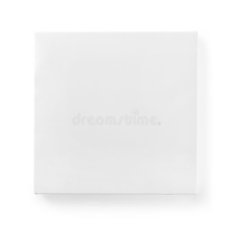 Fyrkantig ask för vit papp som isoleras med urklippbanan royaltyfri fotografi