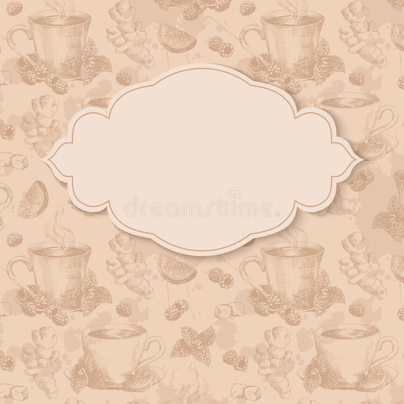 Fyrkantig bakgrund för te royaltyfri illustrationer