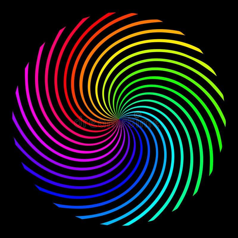 Fyrkantig bakgrund i form av en kulör regnbågespiral vektor illustrationer