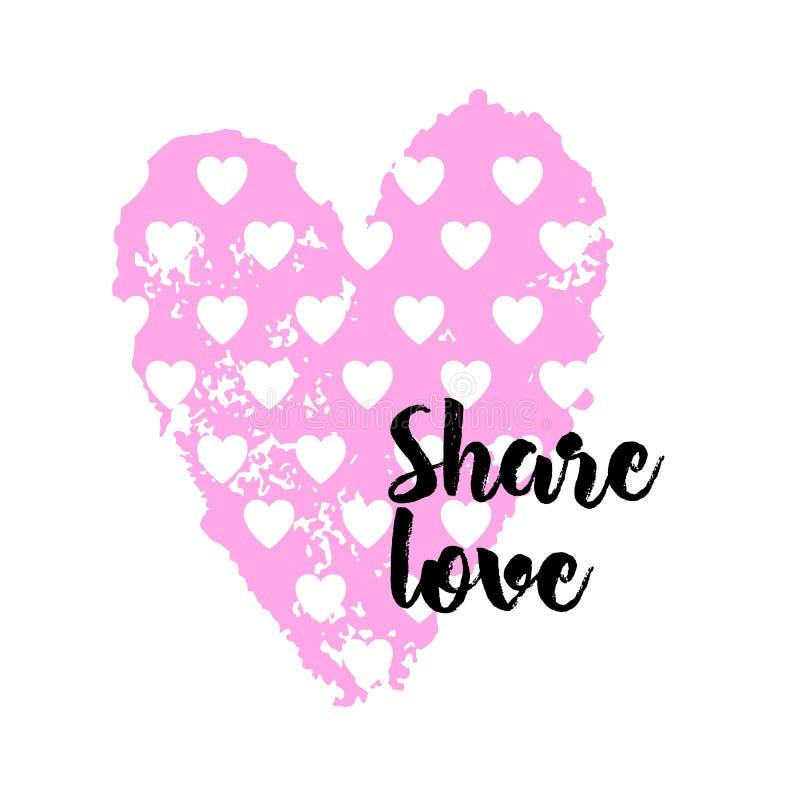Fyrkantig banderoll med rosa hjärta och inskriften Share-kärlek Mall för hälsning, broschyr eller skrivbordsunderlägg vektor illustrationer