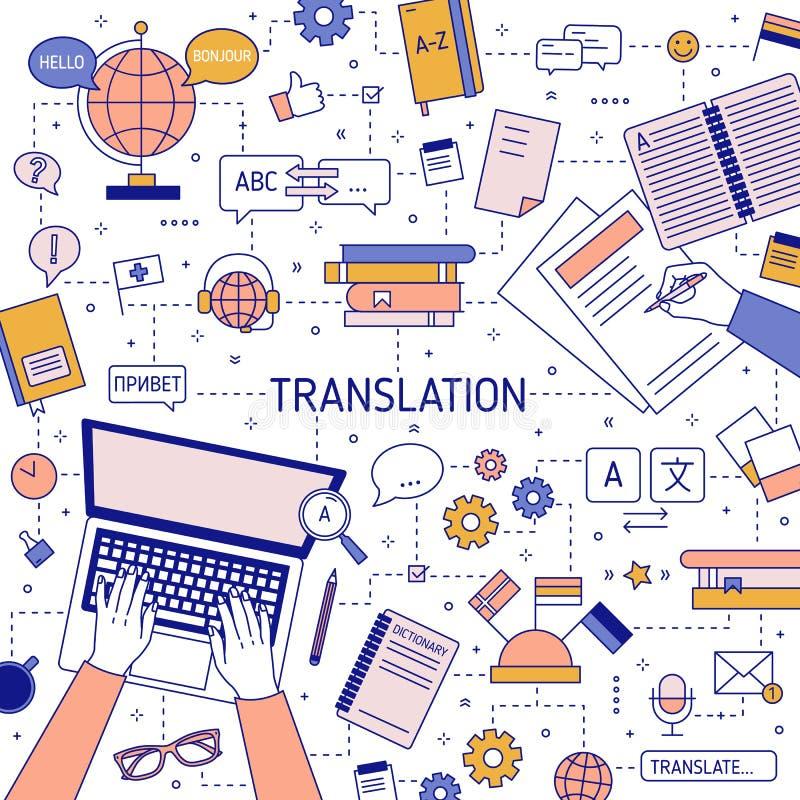 Fyrkantig banermall med händer av översättare som skriver på bärbar datortangentbordet och skriver på papper Översättning av utlä vektor illustrationer