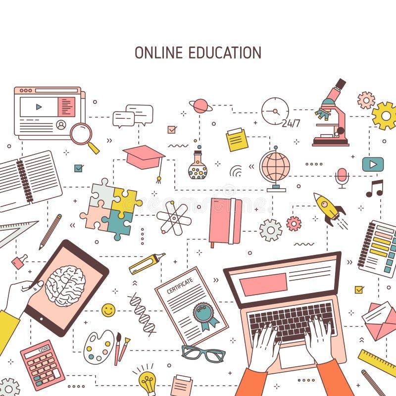 Fyrkantig banermall med händer som skriver på bärbara datorn och olika kontorstillförsel Online- eller avståndshögre utbildning,  vektor illustrationer