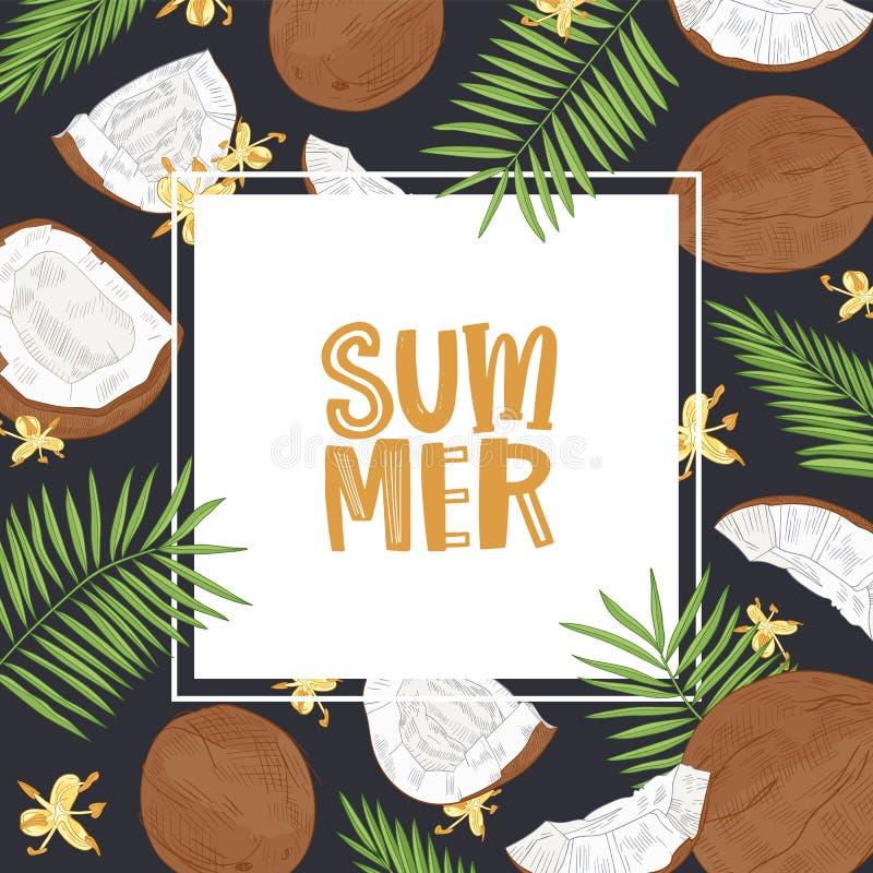 Fyrkantig banermall med sommarord som omges av ramen som göras av kokosnötter, palmträdfilialer och blommor s?songsbetonat vektor illustrationer