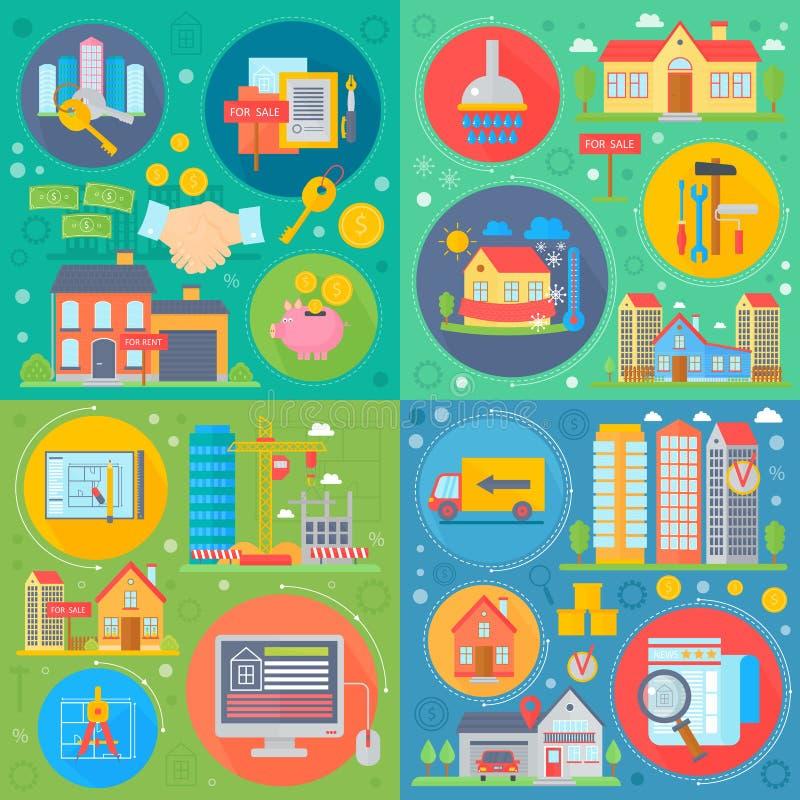 Fyrkantig begreppsuppsättning för fastighet Lägenhetköpande, för vektorvektor för uthyrnings- marknad plan illustration vektor illustrationer