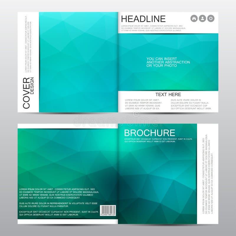 Fyrkantig broschyrmall Grön triangelbakgrund abstrakt bakgrundsvektor vektor illustrationer