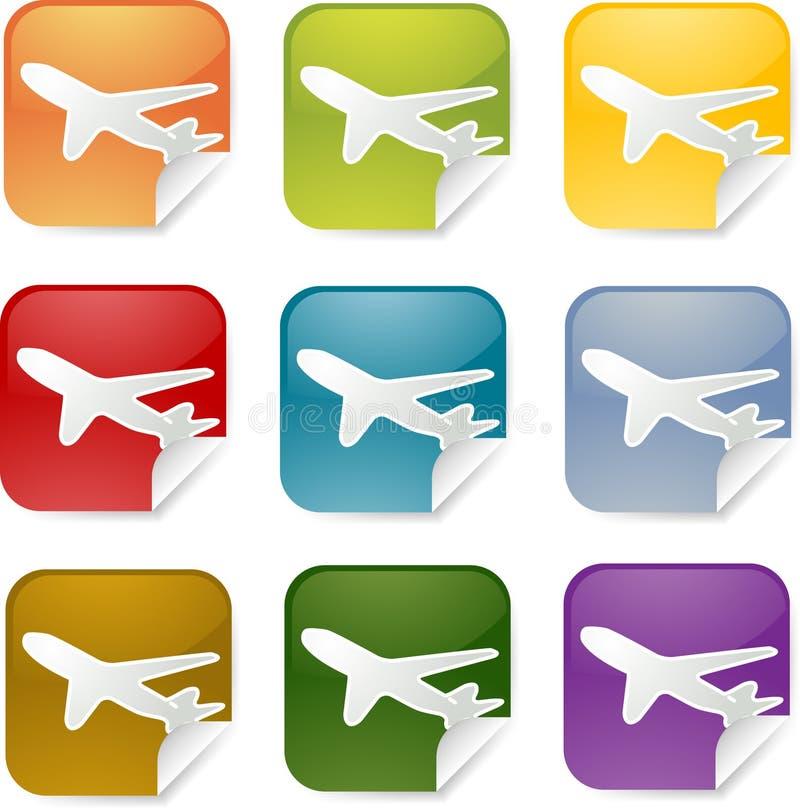 fyrkantig etikett för flygplan stock illustrationer