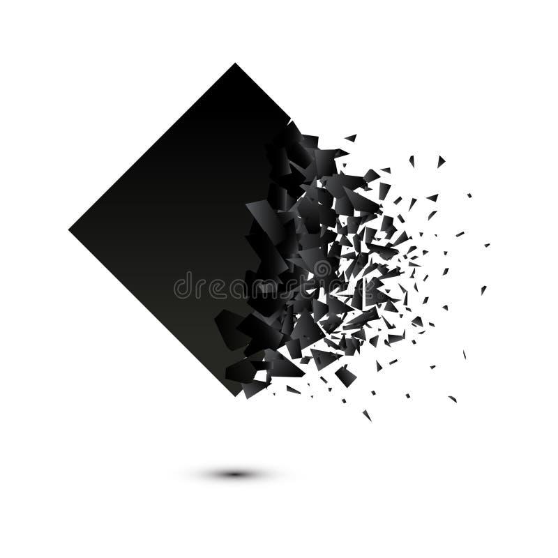 Fyrkantig explosiondesign f?r vektor p? vit bakgrund stock illustrationer