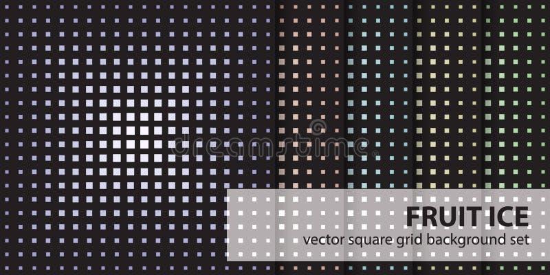 Fyrkantig is för modelluppsättningfrukt Sömlösa geometriska bakgrunder för vektor royaltyfri illustrationer