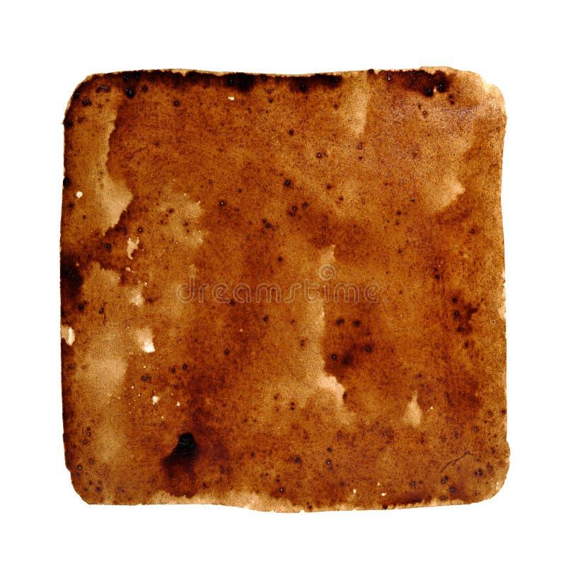 Fyrkantig fläck av spillt kaffe arkivbild