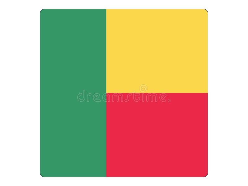 Fyrkantig flagga av Benin stock illustrationer