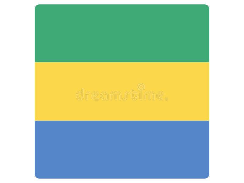 Fyrkantig flagga av Gabon royaltyfri illustrationer
