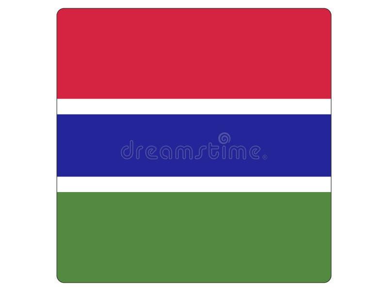 Fyrkantig flagga av Gambia stock illustrationer