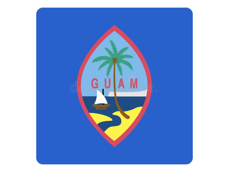 Fyrkantig flagga av Guam stock illustrationer