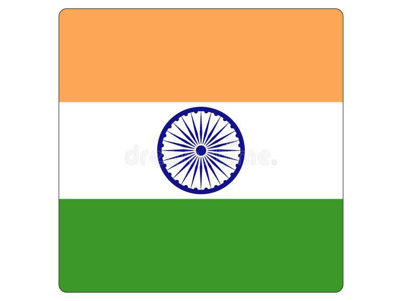 Fyrkantig flagga av Indien vektor illustrationer