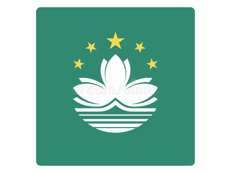 Fyrkantig flagga av Macao vektor illustrationer
