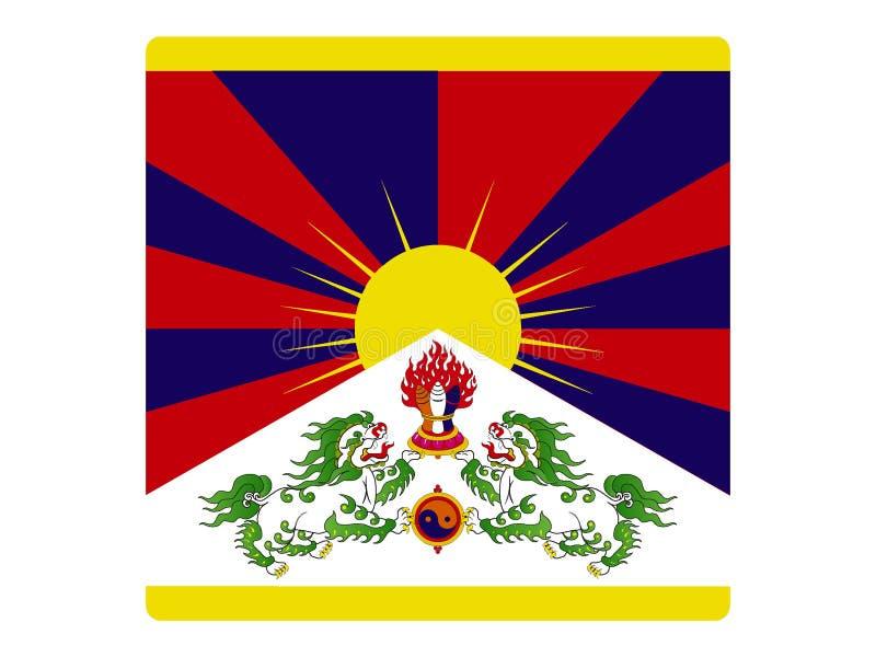 Fyrkantig flagga av Tibet stock illustrationer