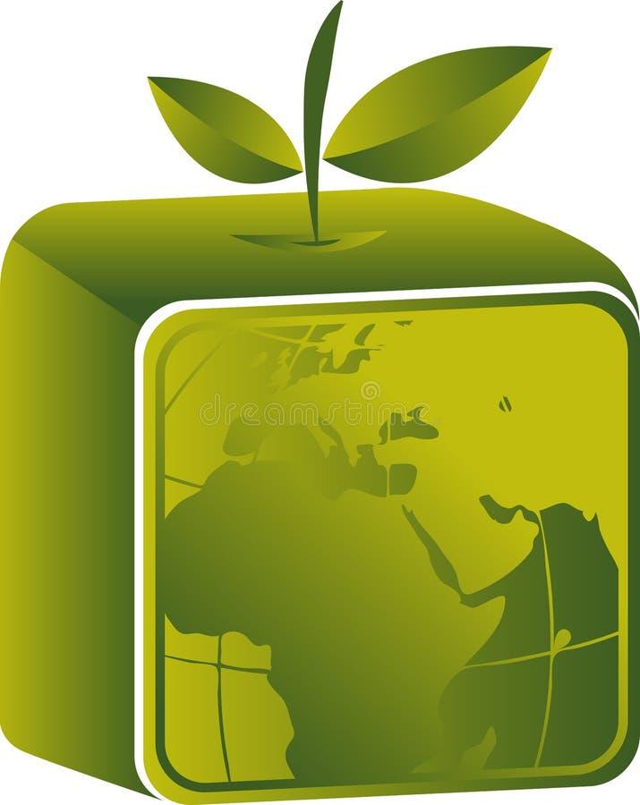 Fyrkantig fruktjordklotlogo stock illustrationer