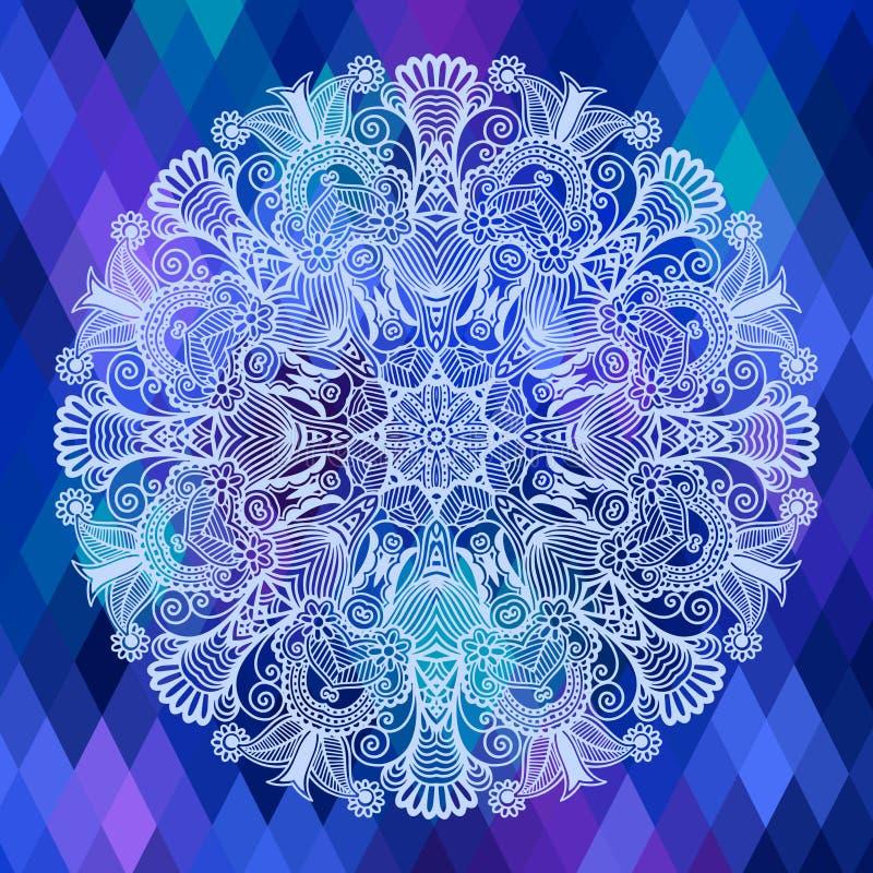 Fyrkantig geometrisk sammansättning med den etniska blomman stock illustrationer