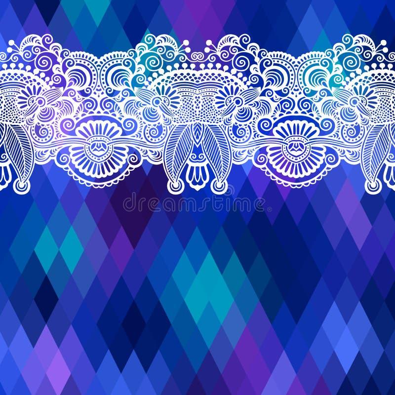Fyrkantig geometrisk sammansättning med den etniska blomman royaltyfri illustrationer