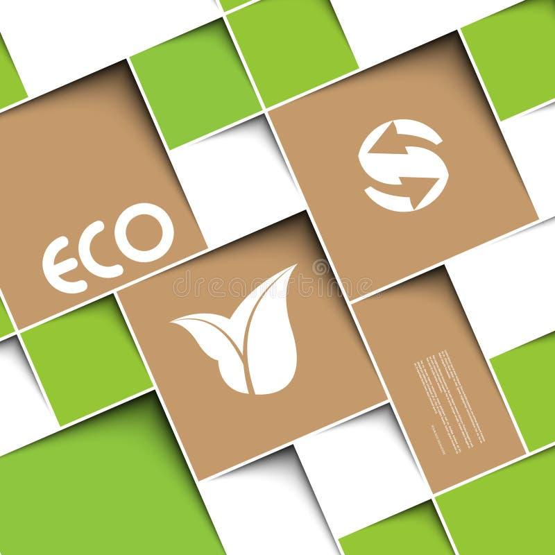 Fyrkantig grön bakgrund med ekologitecken arkivfoton