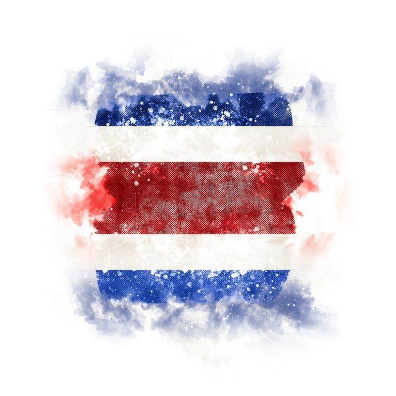 Fyrkantig grungeflagga av Costa Rica royaltyfri illustrationer