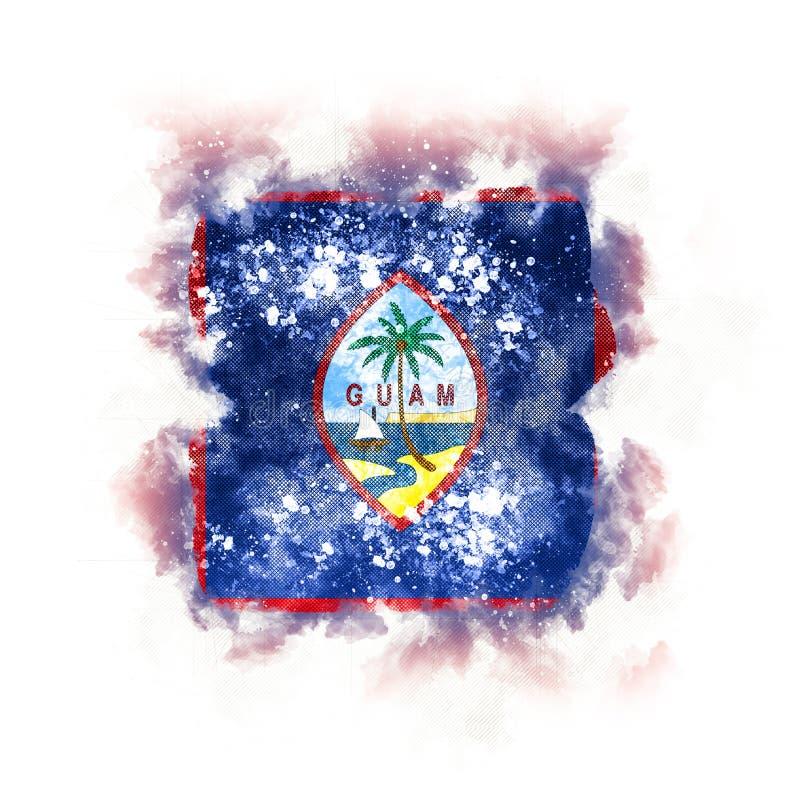 Fyrkantig grungeflagga av Guam vektor illustrationer