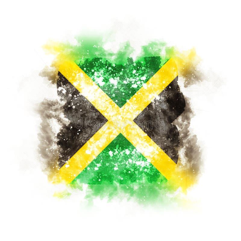 Fyrkantig grungeflagga av Jamaica royaltyfri illustrationer