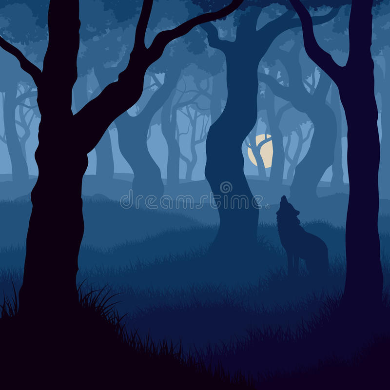 Fyrkantig illustration av vargen som tjuter på månen. vektor illustrationer