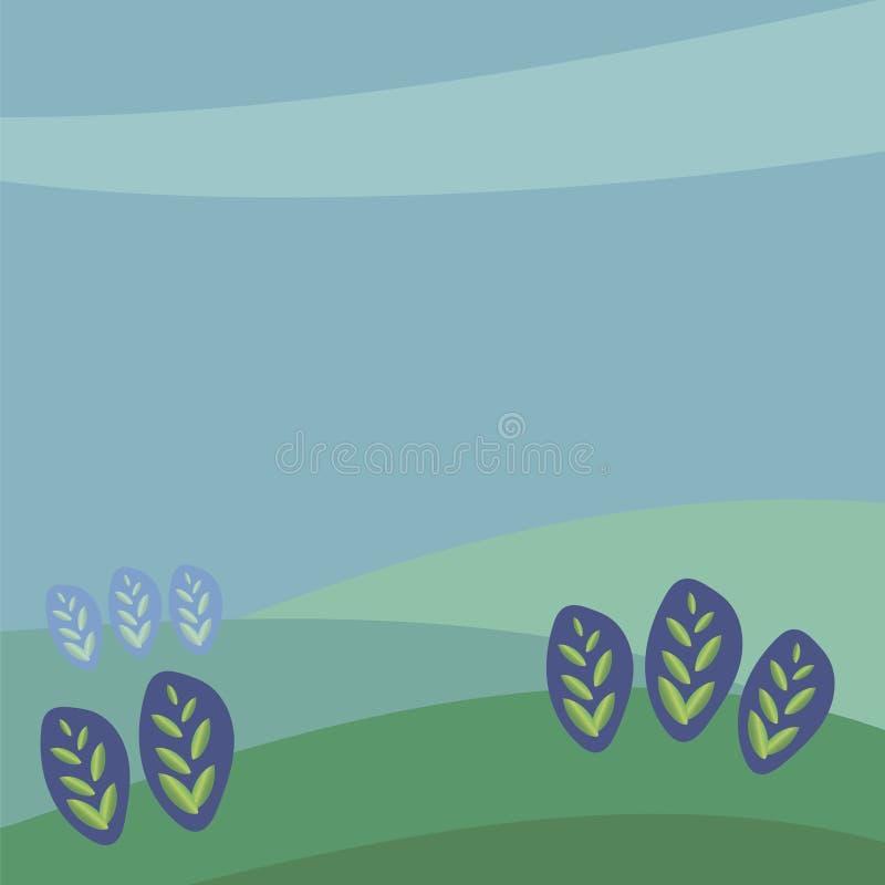 Fyrkantig illustration f?r vektor som drar gr?na lutningsidor av v?xtgroddar i ?ron mot bakgrunden av det bl?a omr?det f?r att v? royaltyfri illustrationer