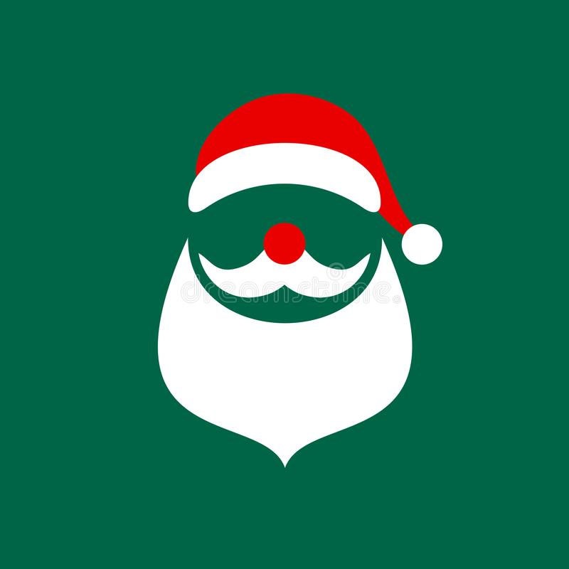 Fyrkantig julkort abstrakta grafiska Santa Green royaltyfri illustrationer