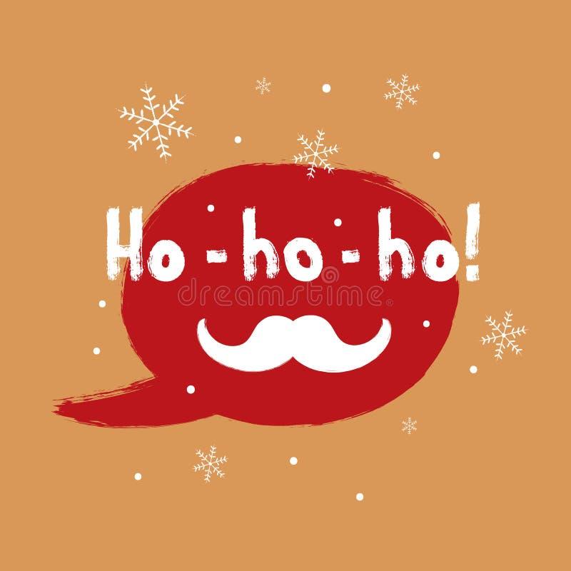 Fyrkantig julkort Anförandebubbla, snöflingor, Santa Claus mustasch royaltyfri illustrationer