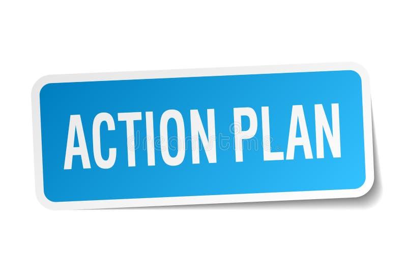fyrkantig klistermärke för handlingsplan stock illustrationer