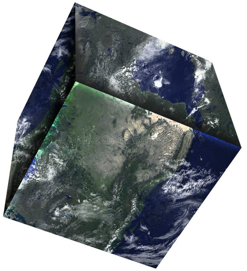 Fyrkantig kub, planetjord som isoleras arkivfoton