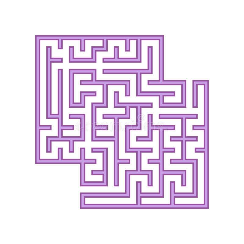 Fyrkantig labyrint för lilor barnprickar finner leken dold för att skissa för att förena dig Enkel plan vektorillustration som is stock illustrationer