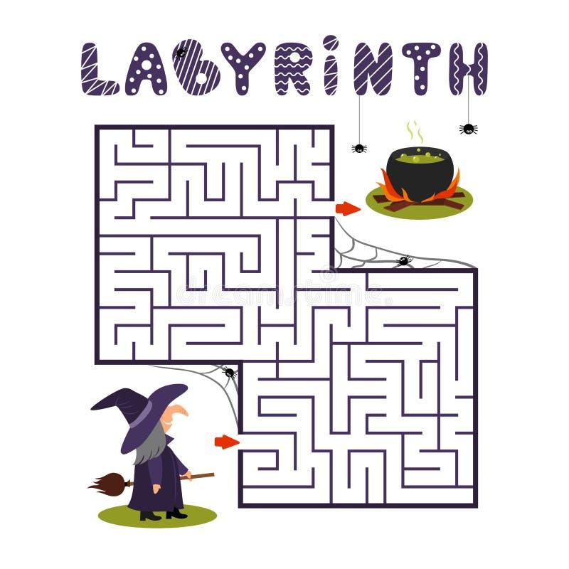 Fyrkantig labyrint med häxan och kitteln på vit bakgrund Barnlabyrint modiga ungar Barnpussel för halloween Hjälpth stock illustrationer
