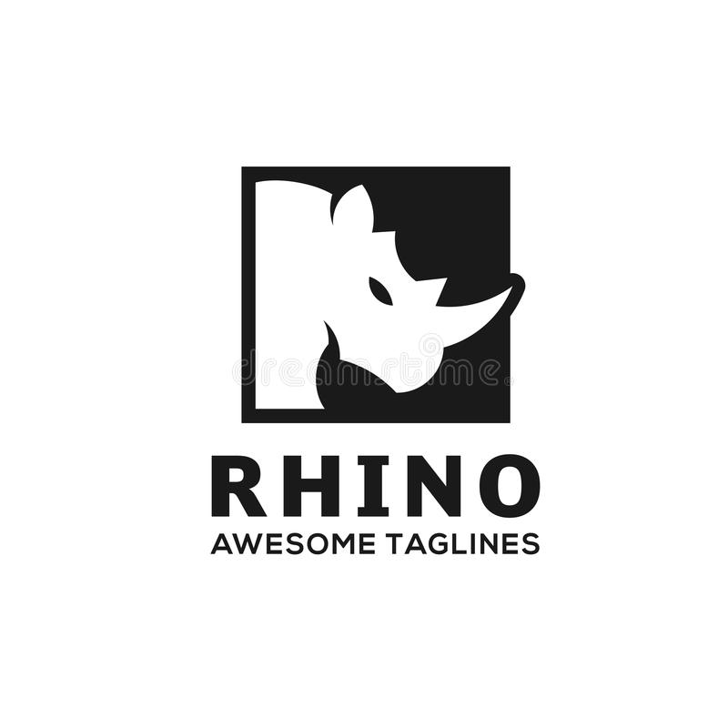Fyrkantig logo för noshörning vektor illustrationer