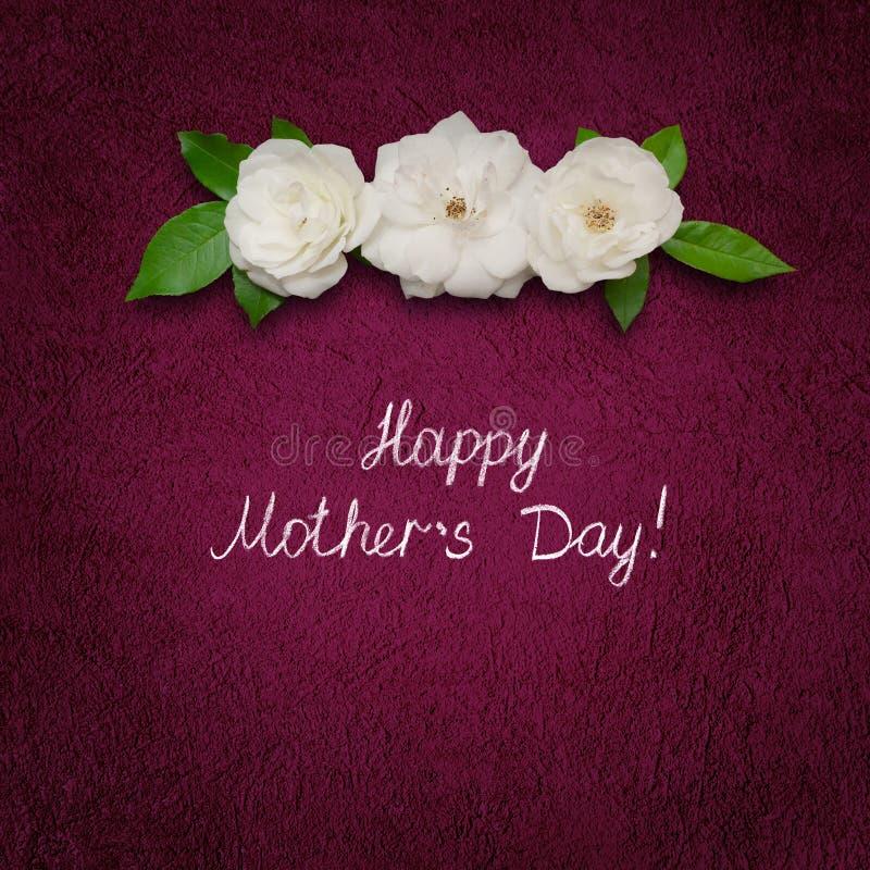 Fyrkantig lycklig moderdag för hälsa kort med vita rosa blommor arkivfoto