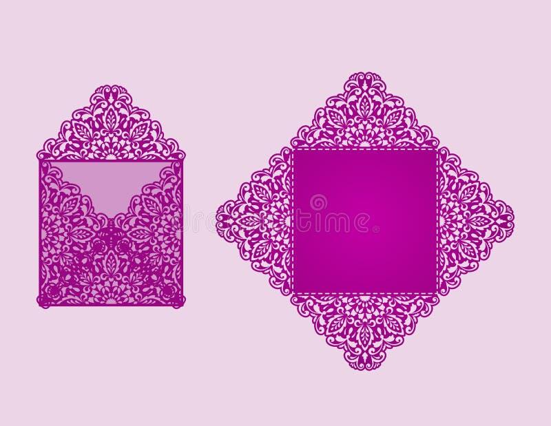 Fyrkantig mall för laser-snittinbjudan vektor illustrationer