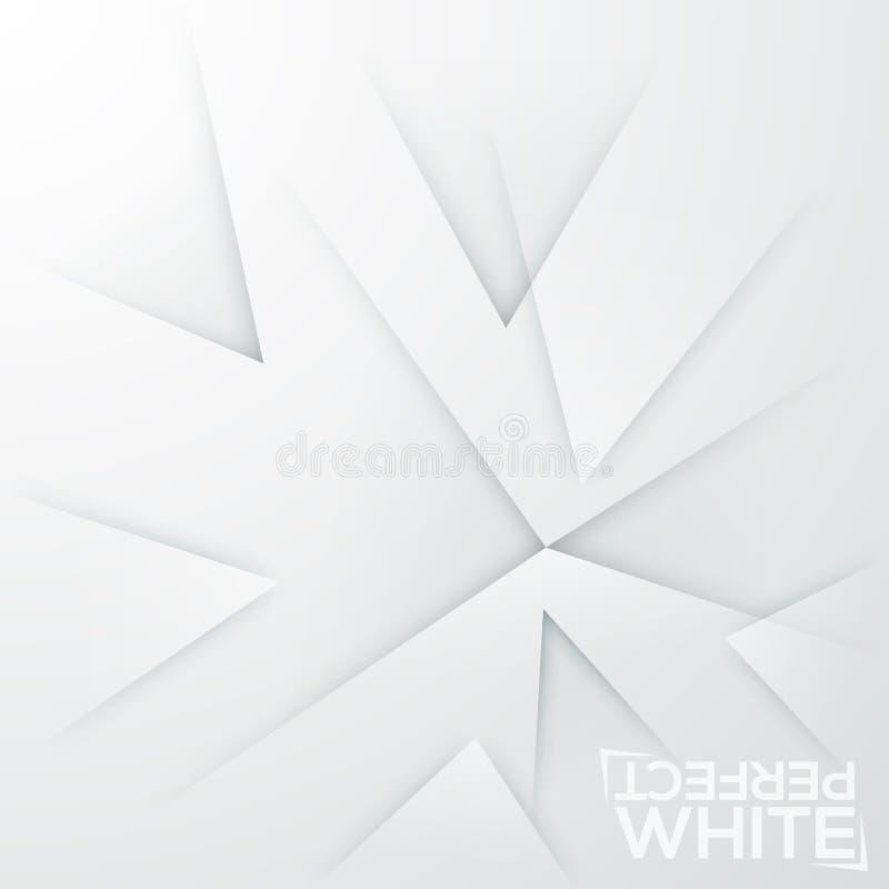 Fyrkantig minimalistic bakgrund Vitbokarket med abstrakt begrepp vässade beståndsdelar som pekades på samma ställe stock illustrationer