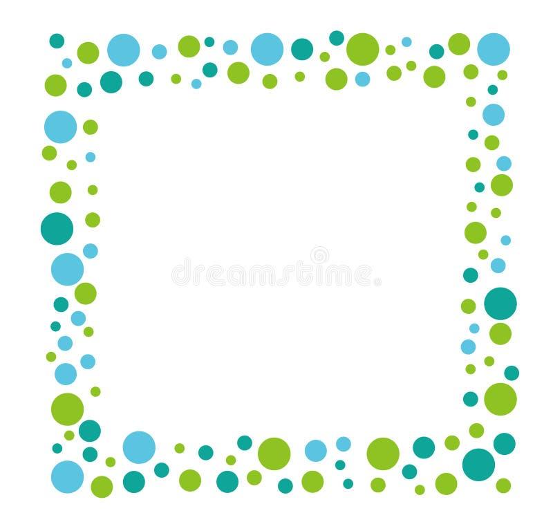 Fyrkantig mosaikmeddelanderam med en blått- och gräsplanprickmodell, vektorillustration arkivbilder