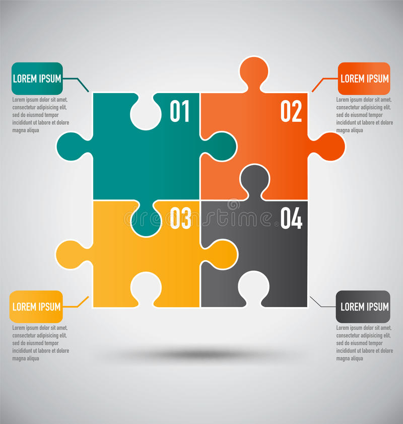Fyrkantig pusselstyckInfographics mall med affärsidé vektor illustrationer