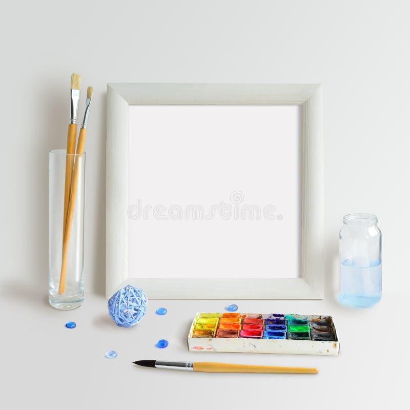 Fyrkantig ramåtlöje upp med akvarell royaltyfria foton