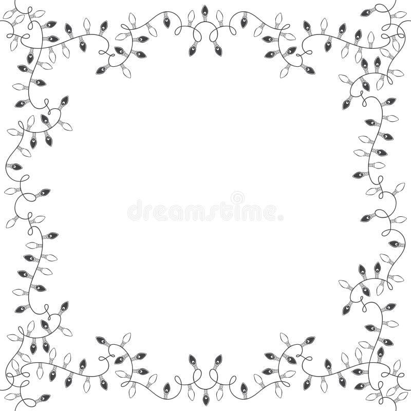 Fyrkantig ram av girlander festlig bakgrund royaltyfri illustrationer