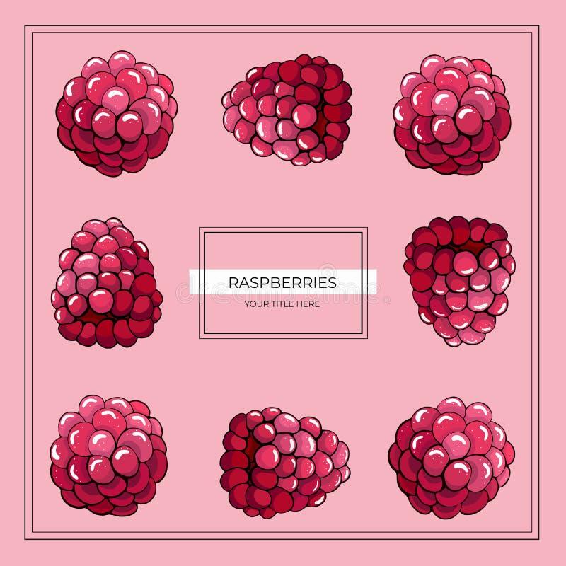 Fyrkantig ram av hallonbär på en rosa bakgrund vektor illustrationer
