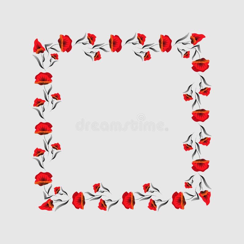 Fyrkantig ram av röda vallmo den blom- ramen inramniner serie Poppy Wreath dagminne vektor illustrationer
