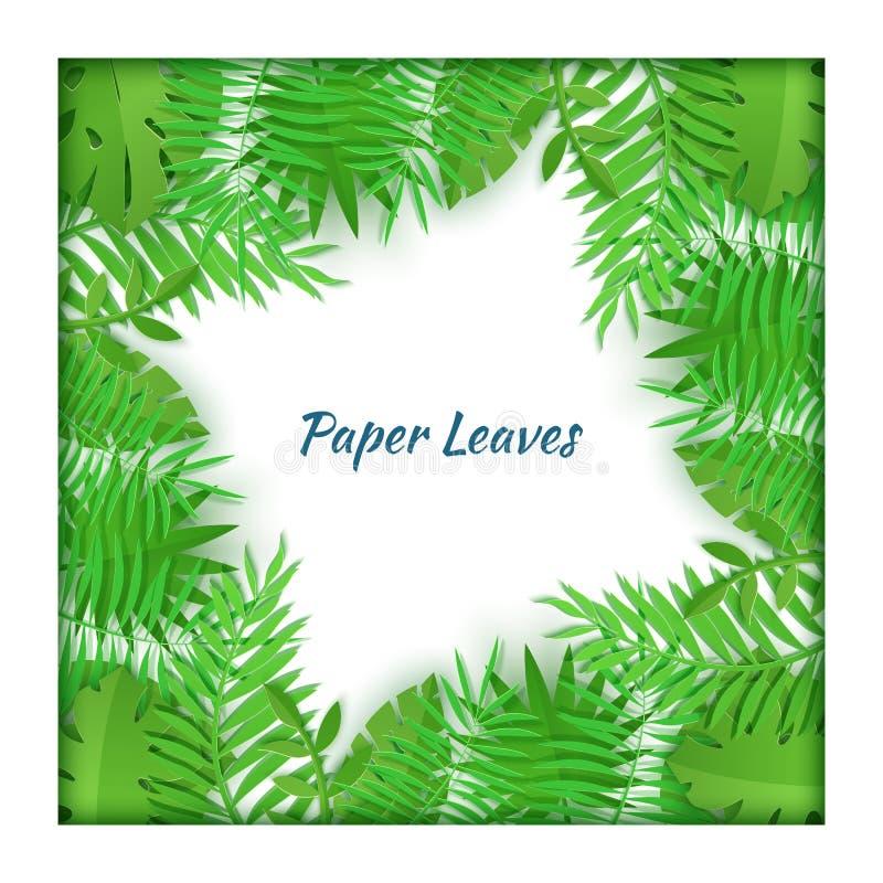 Fyrkantig ram av tropiska sidor för sommar i pappers- klippt stil Samling f?r hantverkdjungelv?xter p? vit bakgrund id?rikt vektor illustrationer